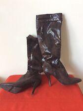 Nine West PICKWICK Women's Knee-High Boots Sz 7 M Brown Snake Print  Bx15