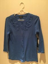 Women NWT (40$) Blue Cardigan Buttons Down PS 100% Cotton