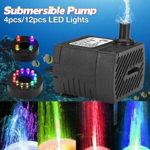 Ultra-Quiet Submersible Water Pump 12 LED lights Aquarium fish tank Filter Pond