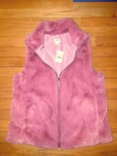 NWT J.Crew Women Faux Fur Full Zip Vest Jacket Pink Berry S
