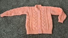 Girls peach, button front cardigan - age 24 month, hand knitted