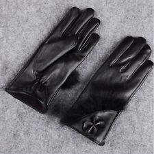 Ladies Women Butterfly Bow Wrist Soft Leather Winter Warm Screen Touch Gloves Black