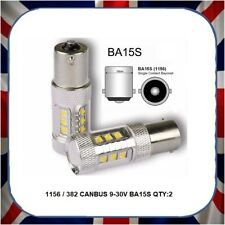2x 21W BA15S  CANBUS-LED WHITE STOP BRAKE CAR FOG TAIL SIDE LIGHT FLASHER BULB