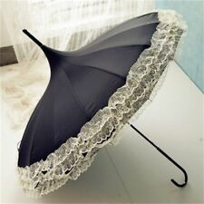 Long Handle Windproof Umbrella Sun And Rain Use 16 Ribs Lace Design Pagoda Type
