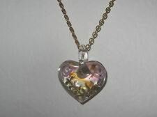 LOVELY YELLOW PINK CLEAR LAMP WORK GLASS HEART PENDANT GOLD PLATED CHAIN