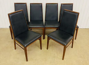 MID-CENTURY MODERN SET OF 6 DILLINGHAM WALNUT & LEATHER DINING CHAIRS