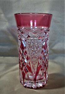 Edo Kiriko Kagami Crystal Rock Slim Glass Red by Craftsman Akio Kimura