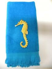Seahorse fingertip towel FREE SHIP aqua applique  bathroom sea horse