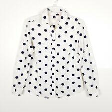 Boden Women Top Button Down Shirt Cotton Polka Dot White  Navy 6
