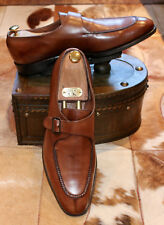 Edward Green Brown Leather Split Toe Monk Strap Shoes - UK 11.5D
