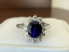 Royal Blue 2.02 carat Madagascar Sapphire and Diamond Ring GIA Princess Diana
