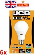 6 x 15w = 100w LED GLS Bayonet BC Lamp Light Bulb Daylight White 100 Watt JCB