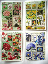 Edition Tausendschön*Doppelkarte*Glitzer*4 Jahreszeiten*Blumen*Rot*rosa*blau...