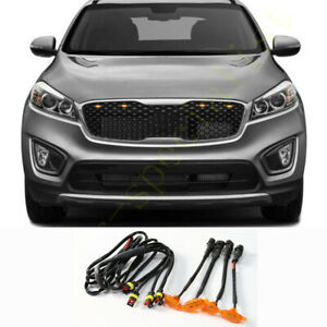 For Kia Sorento 2014-2018 Front Grille LED Amber Light Raptor Style Grill 4Pcs