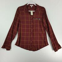 Maurices Womens Long Sleeve Button Front Top XL Zip Pocket Red Black Check New