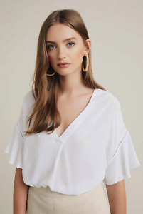 NWT Witchery White Ruffle Top [S & XL] Woven Splice Blouse Shirt Short Sleeve