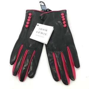 New John Lewis Gloves Ladies UK Small Black Pink Leather Thermal Lined 022393