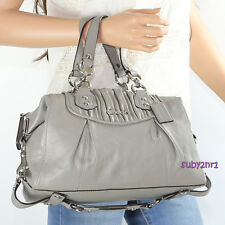 NWT Coach Ashley Gathered Leather Satchel Shoulder Bag F19452 Slate Grey RARE