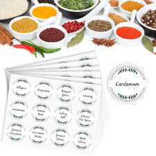 72 x Herb and Spice Jar Labels Vinyl Stickers Waterproof Washable – 38mm round