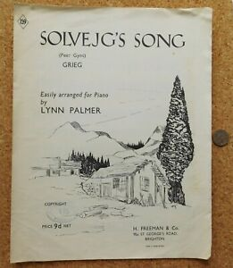 Solvejg's Song Peer Gynt by Grieg easy piano piece vintage sheet music 1950s