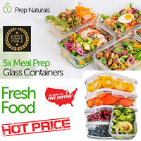 Prep Naturals Glass Meal Prep Containers 5 Pack 30 OZ Food Containers with Lids