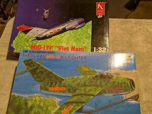 Lot 281 - 2 Migs, MIG 15, MIG-17F - 1/32 Scale Trumpeter, Hobby Craft
