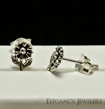 .925 Sterling Silver 8mm Small FLOWER SUNFLOWER Spring Cute Post Stud Earrings