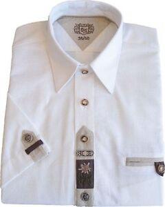 Trachtenhemd Hemd Applikationen 1/2 Arm weiß bestickt Oktoberfest  OS-TRACHTEN