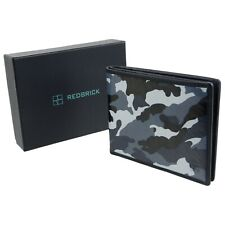 Redbrick Leather Mens Bifold Wallet Grey Camouflage RFID Protected
