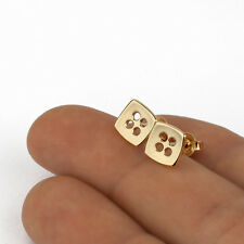 14k Yellow Gold Earrings Stud Handmade Square Button Post Unique Fine Jewelry
