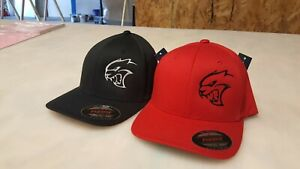 Embroidered Dodge SRT Hellcat Flexfit hats.