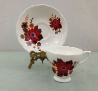 Royal Sutherland Bold Floral Vintage Bone China England Tea Cup and Saucer
