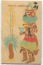 VINTAGE YUCCA VENEER POSTCARD BY L.W. HOLLING - SW INDIAN DANCERS YUCCA KACHINA