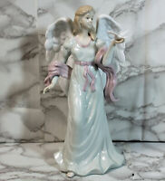"""Porcelain Figurine Angel with Dove 10"""" Tall"""