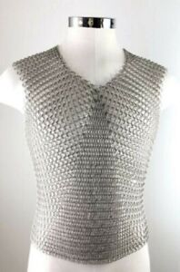 Mild Steel Black Butted Medieval Armor Chainmail Sleeveless Shirt 10 MM Ring for