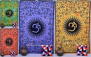Indian Ethnic Om Printed Twin Size Cotton Bed Cover  Hippie Tapestry Bedspread