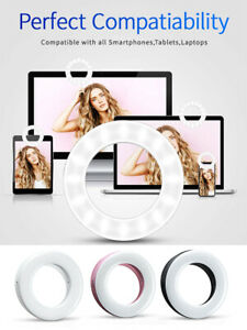 LED Ring Fill Light Rechargeable Circle Video Streaming Lamp Clip On Makeup New