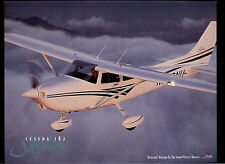 Cessna 182 Skylane Airplane Rare Factory Original Dealer Sheet Page On Cardstock