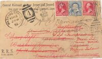 .1892 CENTRAL RAILROAD OF NEW JERSEY COVER, 8 CANCELS / DATE STAMPS -READDRESSED