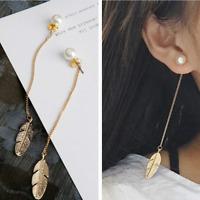 Women Gold Plated Pearls Feather Long Tassel Leaf Dangle Ear Stud Earrings
