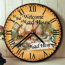 Alice in Wonderland Mad Hatter House Welcome Hanging Wall Clock Gift Nrc06