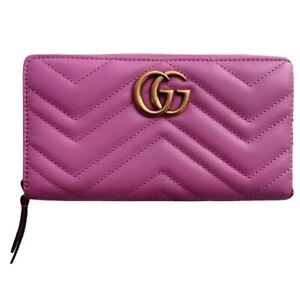 New Authentic Gucci GG Marmont Zip Around Wallet Matelasse Leather