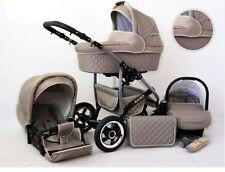 Kinderwagen Qbaro, 3 in 1- Set Wanne Buggy Babyschale Autositz mit Zubehör Khaki