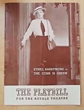 The Playbill for the Royal Theater 1941 Ethel Barrymore in The Corn is Green