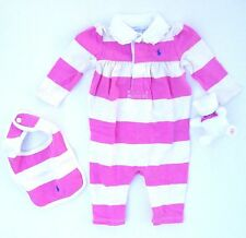 new NWT RALPH LAUREN girls 100% Cotton l/s Coverall, Bib & Toy in Gift Box 6 mos