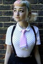 Satén Rosa Kawaii Japón School Girl Cosplay Indie Grunge pre-tied Bow Tie