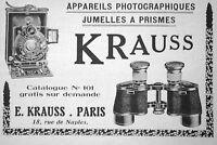 PUBLICITÉ DE PRESSE 1921 KRAUSS APPAREILS PHOTOGRAPHIQUES ET JUMELLES A PRISMES