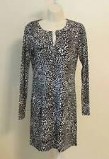 Diane von Furstenberg Reina Tiny Marks Black tunic dress 12 white dot jersey DVF