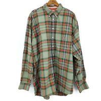 Cinch Button Down Shirt Mens XL Cotton Green Orange Plaid Long Sleeve