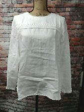 NWT $110 J Crew Embroidered Linen Top Bright  White  14 TALL